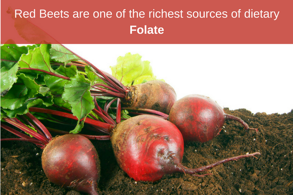 Red Beets are high in folate